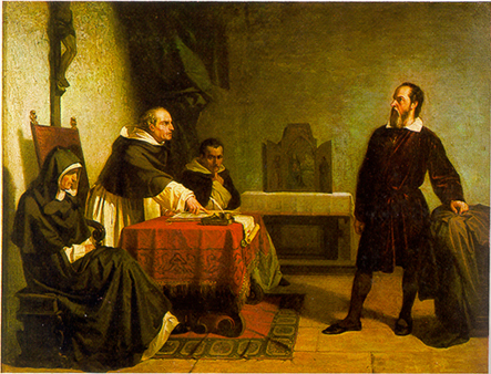 Galileo facing the Roman Inquisition, painting by Cristiano Banti