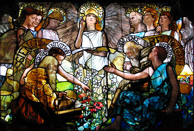"A stained glass window at Yale University depicts Science (personified by Devotion, Labor, Truth, Research and Intuition) and Religion (personified by Purity, Faith, Hope, Reverence and Inspiration) in harmony, presided over by the personification of ""Light·Love·Life"""